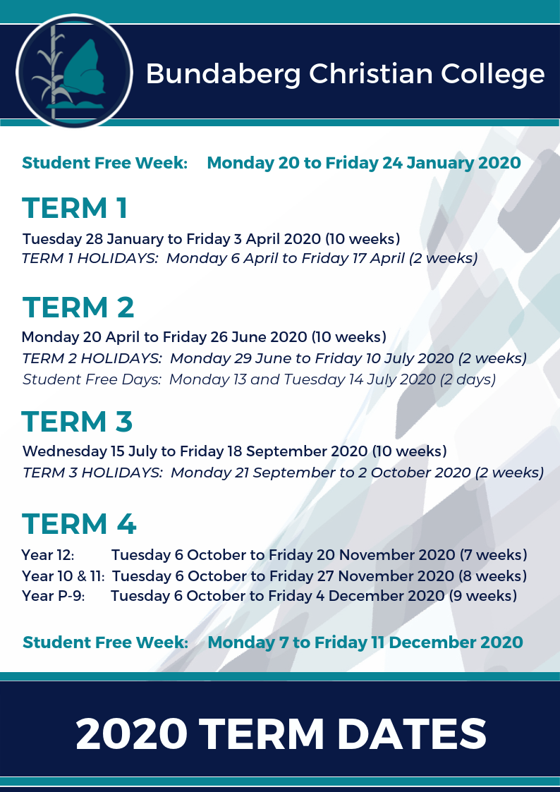 2020 Term Dates Bcc
