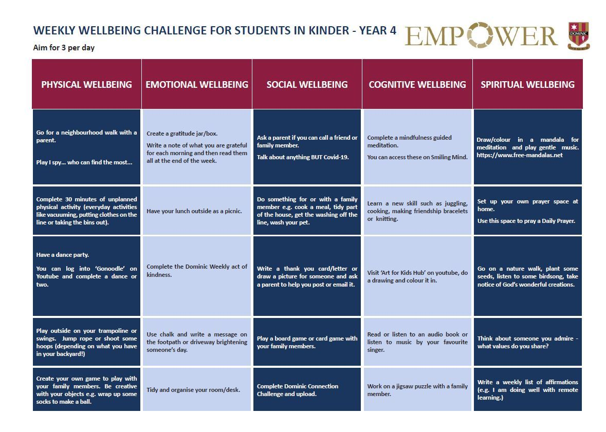 Weekly Wellbeing Challenge for Students K-4