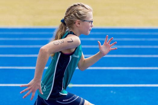 Blonde Running Girl Glasses Ponytail