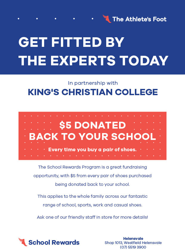 $5 donated to King's for every pair of shoes purchased at Athletes Foot, Helensvale