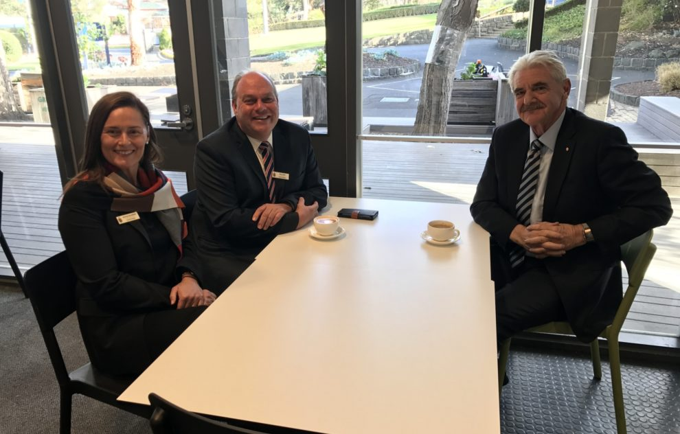 Mr Geoff Ryan AM, Chair with Mal Cater, Principal and Natalie McLennan, Head of Greenways.