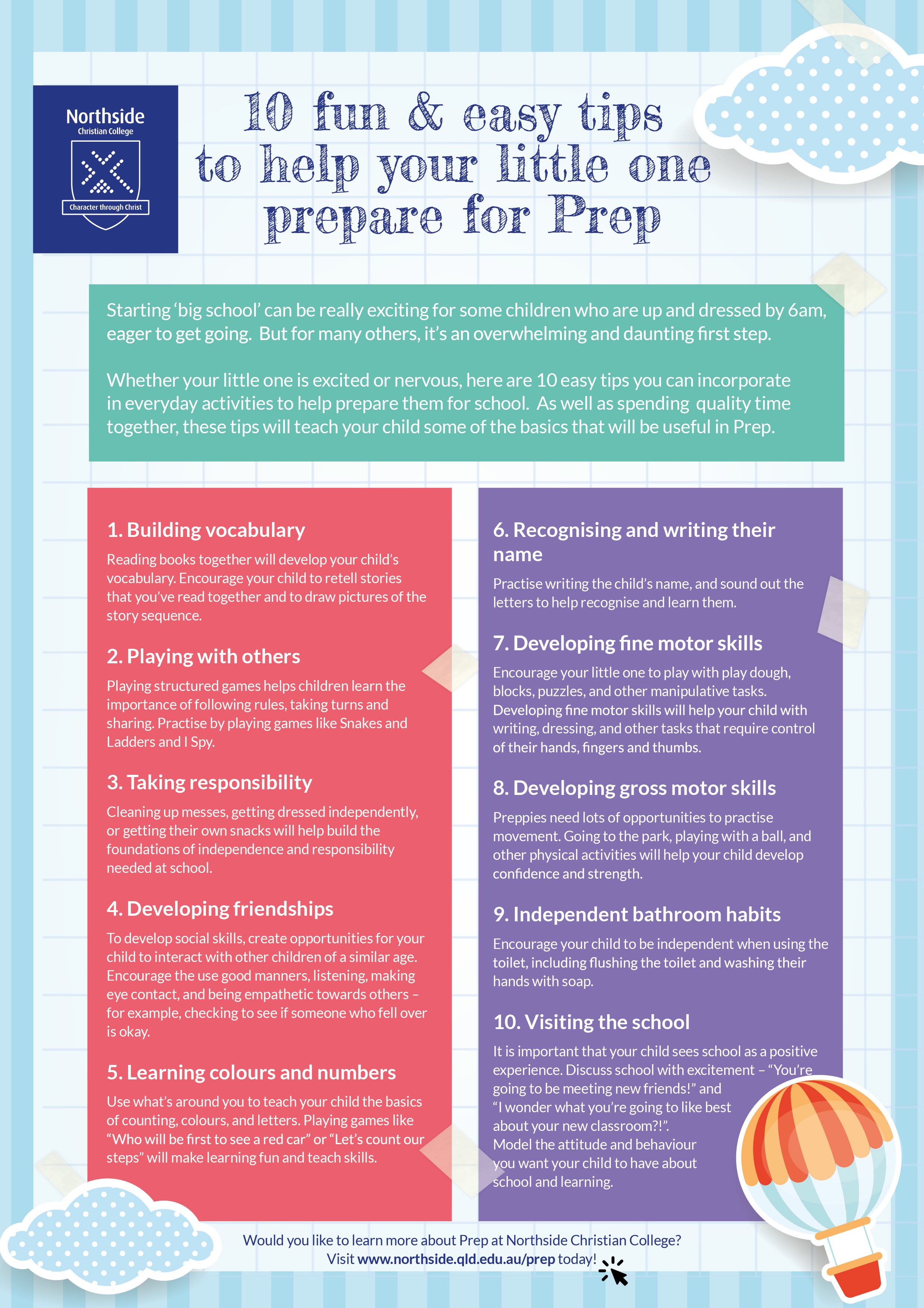 10 Tips to Prepare for Prep - Northside Christian College