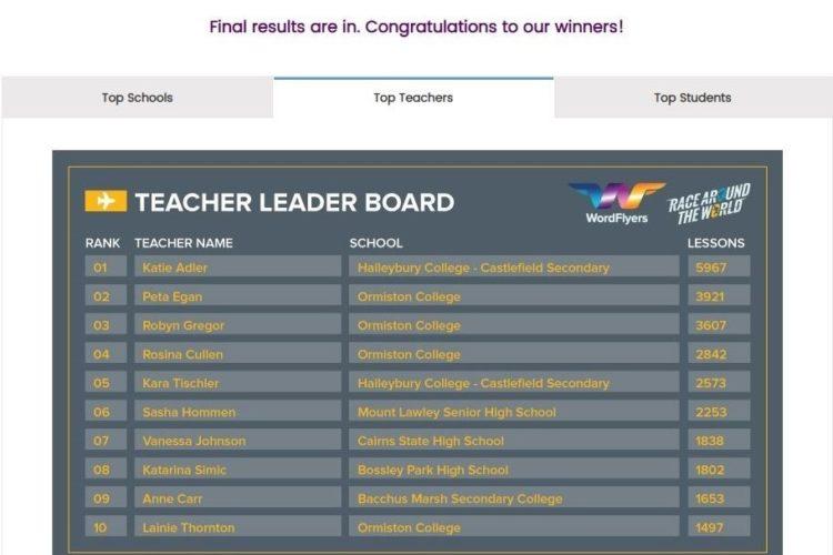 Word Flyers Top Teachers