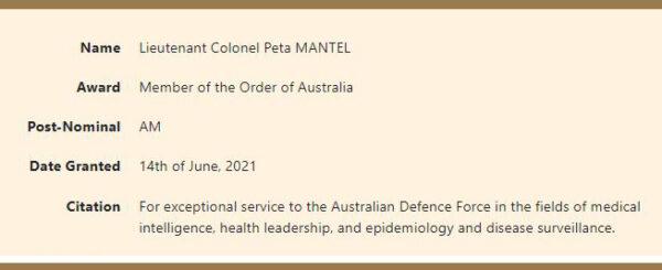 Peta Mantel citation