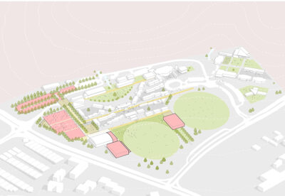 Master Plan with Sports Precinct works in pink