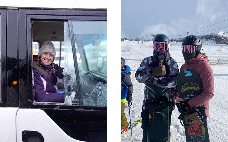 (L) Megan Fritsch, Head of Sport (R) Snowsports Captains- incognito