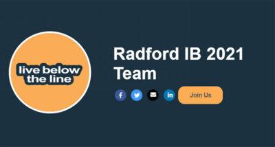 Radford IB Live Below the Line page pic