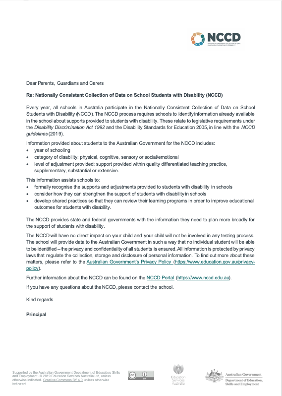 Letter to Parents and Guardians