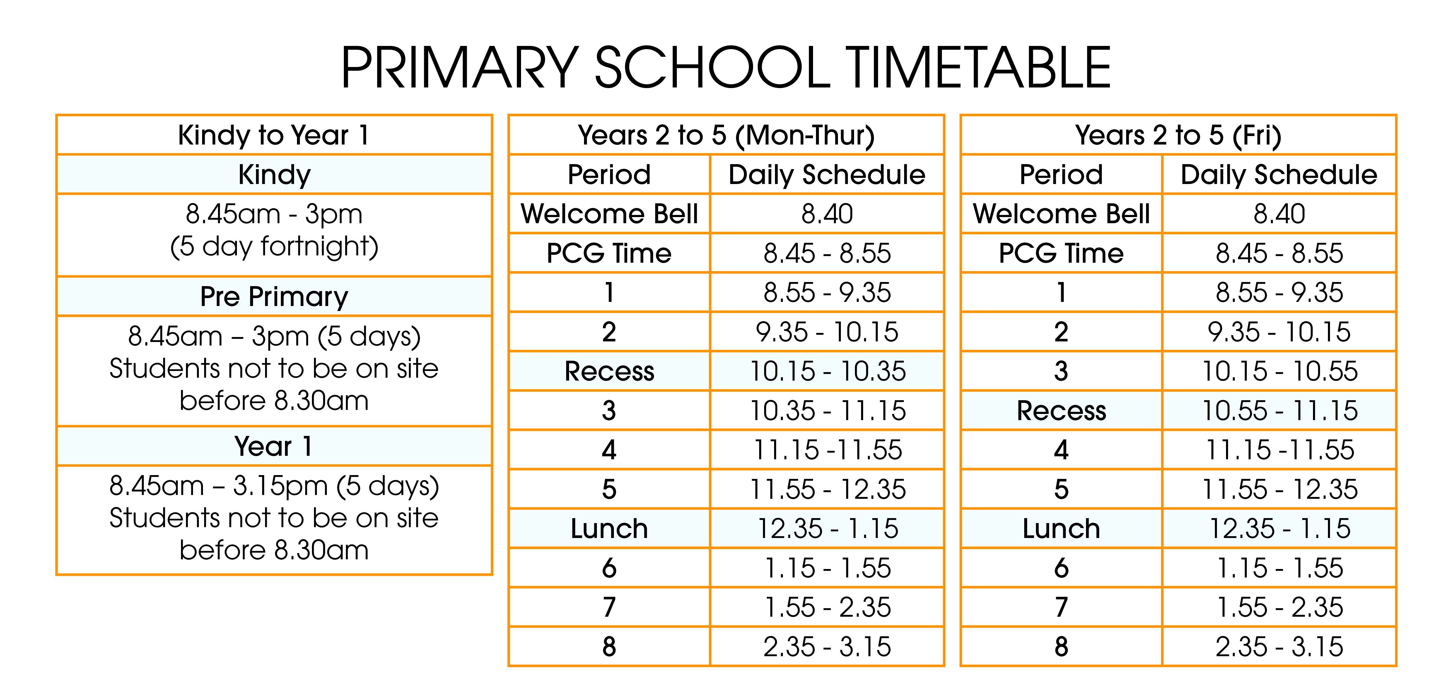 Primary Timetable