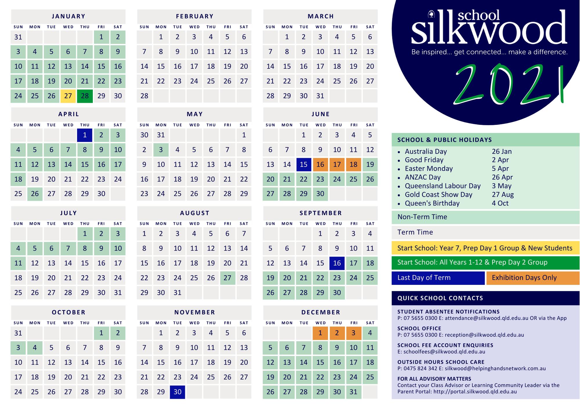 2021 Silkwood School Calendar