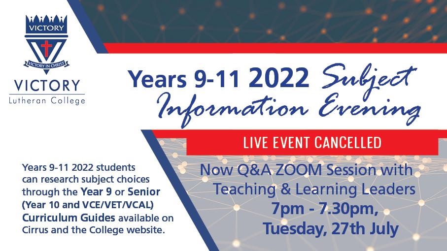 2022 Yr 9 11 Subject Information Evening