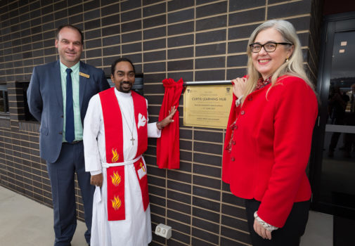 3 Assoc Professor Lisa Schmidt With John Thompson And Pastor Jaswanth Kukatlapalli Open Curtis